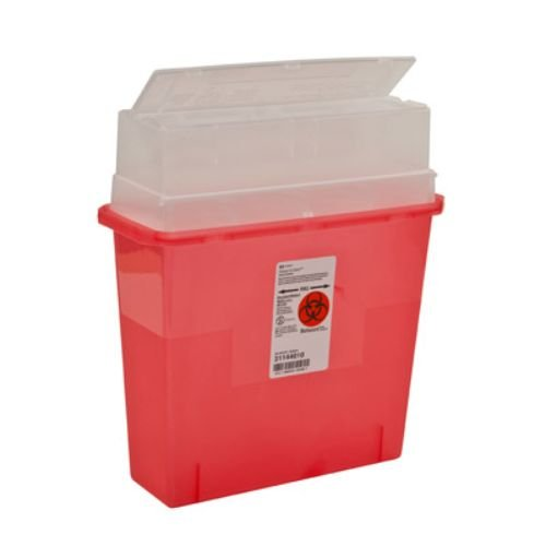 Covidien 31144010 Sharps-A-Gator Sharps Container, Tortuous Path, Polypropylene, 5 Quart, Transparent Red (Pack of 30) by COVIDIEN