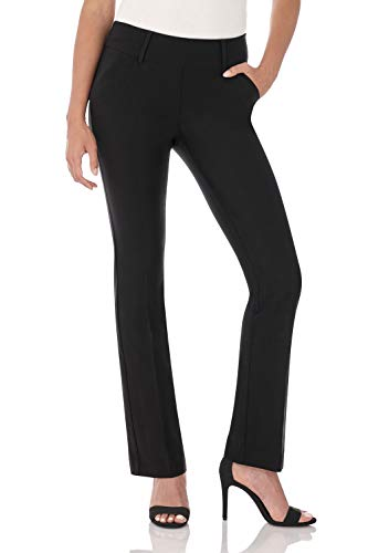 Rekucci Women's Ease in to Comfort Fit Classic Bootcut Pant w/Tummy Control (8,Black)