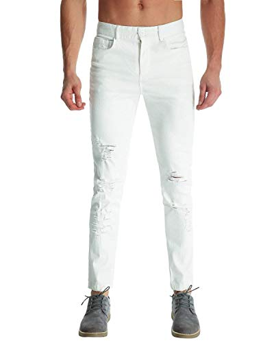 Pantalones Destoryed De Los Hombres Chino Ripped Knee Hole Pants Fashion Slim Joven Fit Destruido Agujeros Pantalones Casuales Jeans Blanco