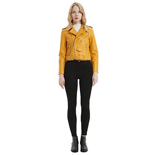 In Signore Cappotto Giacca Breve Ideale Multi Risvolto Cjjc Classica Le Biker Yellow Con Opzionale Autunno Pelle Ragazze Donne Moda cerniera Primavera Outwear Per UEw7qxOA7