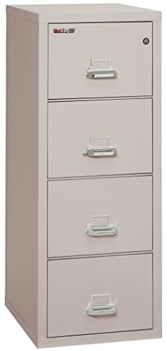Fireking Fireproof Vertical File Cabinet (4 Letter Sized Drawers, Impact Resistant, Waterproof), 52.25'' H x 17.75'' W x 25.06'' D, Platinum by FireKing