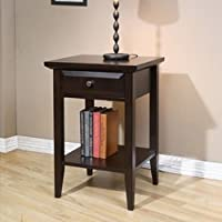 Coventry West Quay 1 Drawer Nightstand. This Beautiful Rich Brown End Table Compliments Any Room, Including, the Hall, Bedroom or Guest Rooms. Made of Wood and Features a Silver Metal Knob.