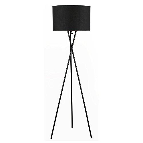 Euro Style Collection Lisboa Tripod Metal Body Floor Lamp, Black