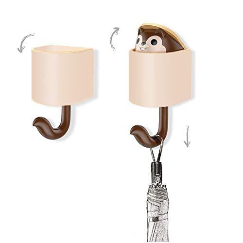Yeeper Cartoon Kids Wall Hooks Adhesive, Cute Squirrel Hooks Great for Kid's Room Living Room - Squirrel Hook