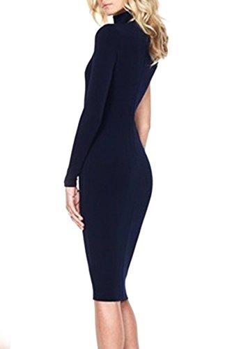 Elegant manga larga Bodycon Vestido de noche de la mujer Blue