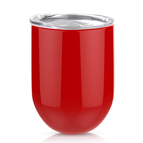 Stemless Steel Wine Glass, AOND 12oz Double Wall Vacuum Insulated Stainless Steel Wine Tumbler with Lid for Home, Office, Travel, Camping, Great for Wine, Champagne, Cocktails, Coffee, Drinks - Red