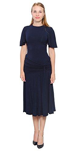 Marycrafts Womens Drop Waist Midi Dress Flapper Vintage Retro 1920s 12 Midnight