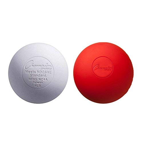 Champion Sports Lacrosse Balls (2-Pack) White Red