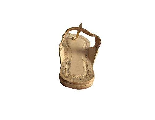 Step A Kolhapuri Kurti Mojadi N Light Mano Pelle Style Jutti In Fatti Stile Gold Sandali Indiano 11nrRqg
