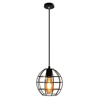 Lemonbest Industrial Vintage Edison Hanging Pendent Light Iron Round Cage Lampshade Minimalist Ceiling Chandelier Light Fixture with led Blub