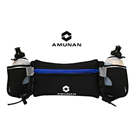AMUNAN-Running Belt-Hydration Running Belt-Navy Blue, Black-Unisex-Adjustable Belt, Resilient Material-7.5 inches Pocket with Zipper to Secure Your Phone, Keys, etc-Helps Run Comfortably