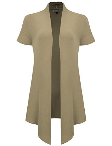 BIADANI Women's Short Sleeve Open Front Drape Side Pockets Sweater Cardigan Stone ()