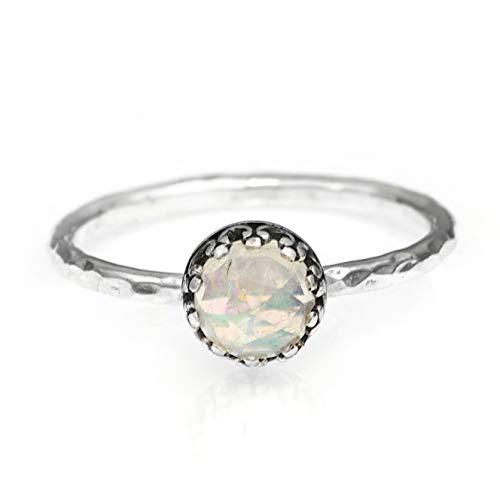Vintage Style Rainbow Moonstone Promise Ring, Sterling Silver June Birthstone Ring ()