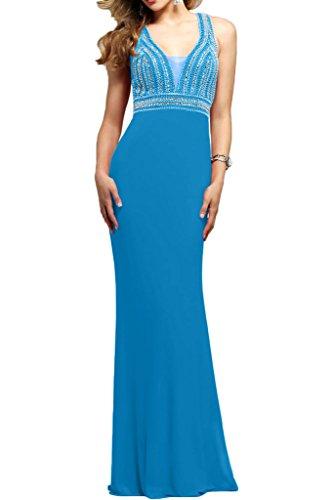Sommer Chiffon Abendkleider Ausschnitt Lang V Blau Brautmutterkleider La mia Damen Festlichkleider Perlen mit Braut nx6aYX