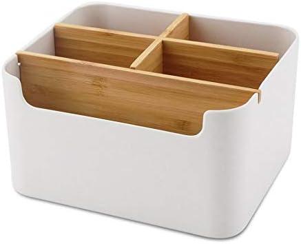 Cratone Schreibischorganizer Bambus Desktop Organizer Holz mit 5 Fach Schreibtisch Aufbewahrungsbox Mehrzweck Stiftehalter Fernbedienung Halter Schreibtischzubehör