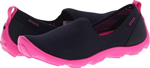 crocs Women's 14698 Duet SPT Skimmer,Black/Fuchsia,7 M US - Busy Shoe