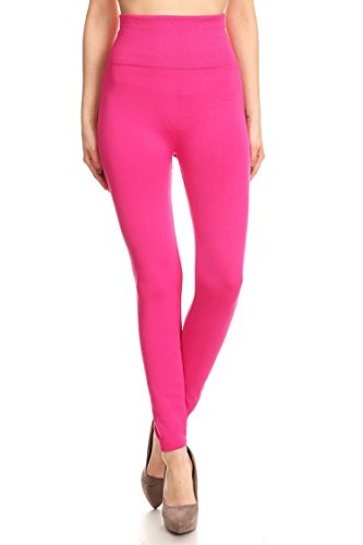 Pink Hot Pants (Leggings Mania Womens Solid Fleece Lined Extra High Waistband Leggings Hot Pink)