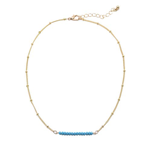 So Pretty Dainty Bead Gold Choker Necklace for Women Simple Turquoise Blue Boho Chain Necklace