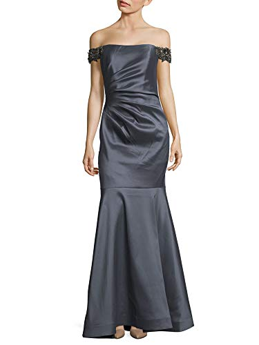 Badgley Mischka Off The Shoulder Mermaid Evening Gown Dress (Badgley Mischka Long Sleeve Jersey Beaded Gown)