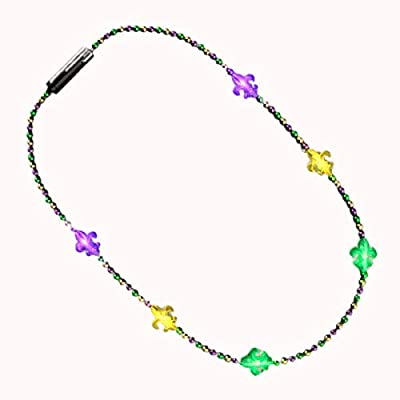blinkee Beaded Small Fleur de Lis Charm Flashing Mardi Gras Necklace for Fat Tuesday by: Toys & Games