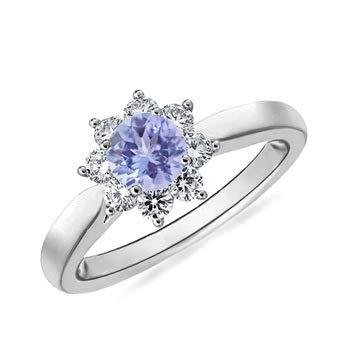 - Tapered Shank Tanzanite and Diamond Flower Ring in Platinum (5mm Tanzanite)
