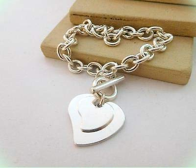 Silver Tone Double Heart Charm Toggle Clasp 8