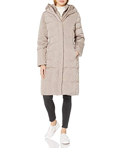 Cole Haan Women's Taffeta Quilted Down Coat with Elasticated Side Waist Detail, Cashew, XL (Cole Haan Signature Hooded Down Puffer Coat)