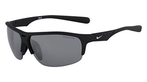 Nike Grey with Silver Flash Lens Run X2 Sunglasses, Matte Black/Black by NIKE