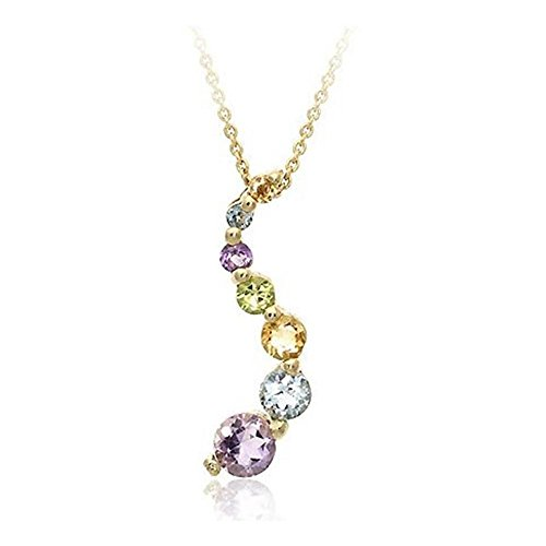 Glitzs Jewels Gold Tone Over Silver Multi-Gemstone Journey Pendant 18