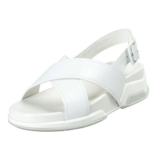 - Prada Women's White Leather Strappy Open Toe Sandals Shoes Sz US 8.5 IT 38.5
