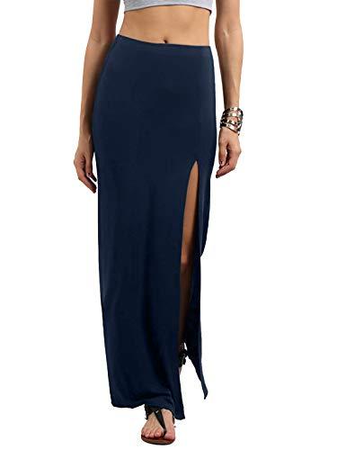 Verdusa Women's Solid Color High Waist Side Split Maxi Skirt Navy XS
