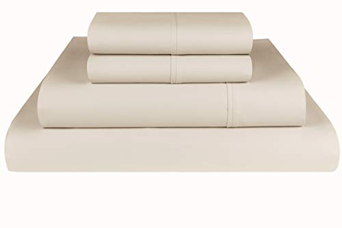 Threadmill Home Linen 600 Thread Count 100% Extra-Long Staple Cotton Sheet Set, Full Sheets, Luxury Bedding Super Sale, Full Sheets 4 Piece Set,Smooth Sateen Weave,Beige
