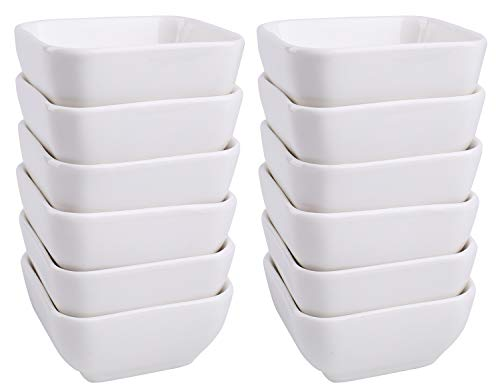 Lawei 12 Packs Ceramic Dip Bowls Set - 3 oz White Condiments Server Dishes for Sauce, Vinegar, Ketchup, BBQ