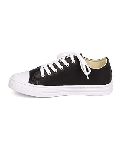Qupid FD80 Women Leatherette Capped Toe Lace Up Flat Sneaker - Black ZziM6WR
