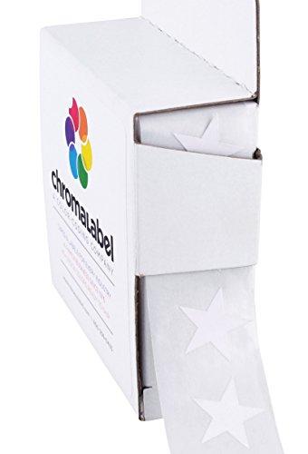 "3/4"" White Star Stickers in Dispenser Box - 1,000 Labels per Box, Permanent Adhesive"