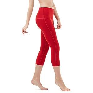 "TM-FYP32-RED_Medium Tesla Women's Yoga 21""Capri High-Waist Tummy Control Pants w Pocket FYP32 …"