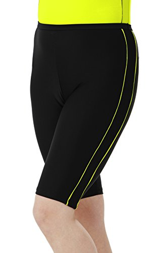 HydroChic Women's Plus Size Swim Shorts – Chlorine Proof Long Shorts Great for Biking and Water Exercises – Black/Radiant Yellow, 3X