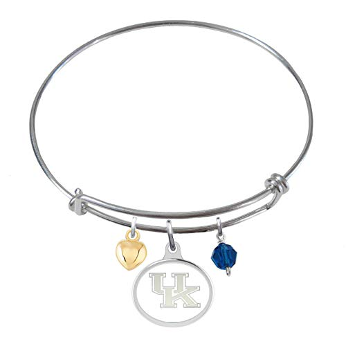 (College Jewelry University of Kentucky Wildcats Sterling Silver Adjustable Bangle Bracelet with Enamel Charm)