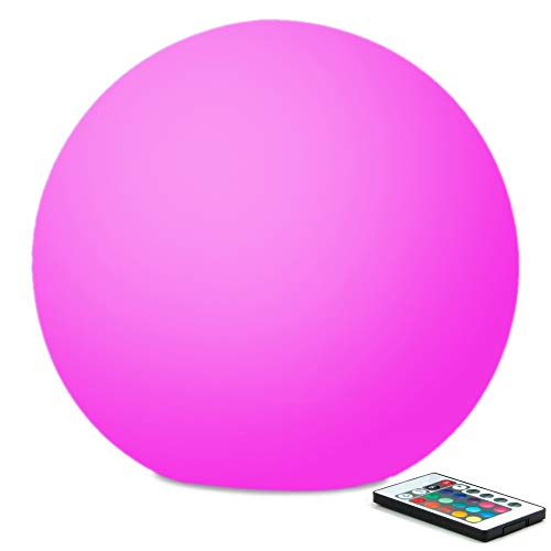 Mr.Go 12-inch Rechargeable Color-changing LED Ball Light Globe Orb Lamp w/Remote, Home Kids Room Adult Bedroom Bar Table Patio Pool Party Dimmable Nightlight Relax Mood Lighting Decoration