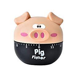 Fan-Ling Kitchen Cooking Countdown 60 Mins Steel/Plastic Mechanical Timer Alarm,Cute Mini Pig Count-Down Up Clock Alarm,Home Kitchen Chef Mini Count-Down Timer,Cooking Time Reminder (Beige)
