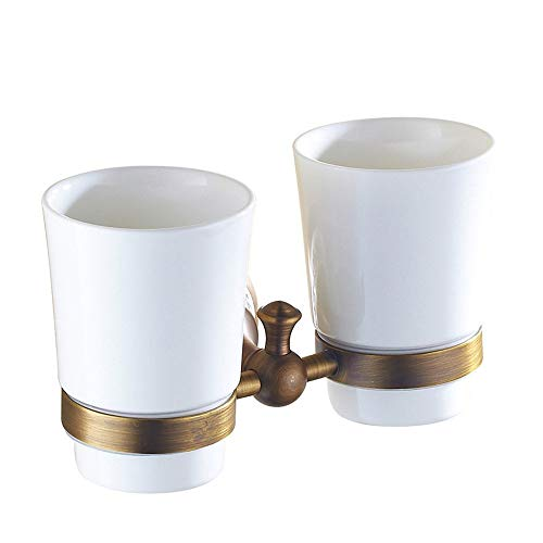 - Copper Antique Double Cup Continental Retro Mug Cup Brushing Cup Cup Holder Bathroom Double Cup Cup
