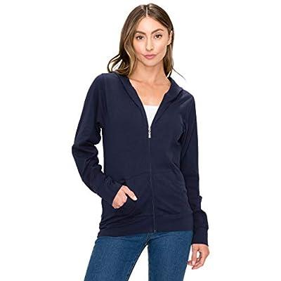 Women's Full Zip Hoodie Jacket - Slim Fit Lightweight Long Sleeve Hooded Zip Up Sweatshirt Athletic Workout: Clothing