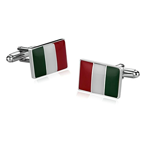 Aooaz for Mens Stainless Steel Cufflinks Italian Flag Italy Green White Red 1.4X1.9CM Xmas Gift Box