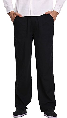 Utcoco Men's Casual Loose Fit Straight-Legs Stretchy Waist Beach Pants (XX-Large, Black) (Black Linen Mens Pants)