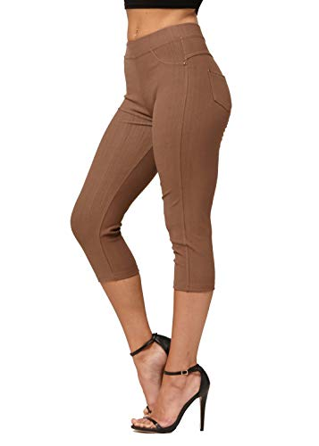 Premium Jeggings - Denim Leggings - Cotton Stretch Blend - Capri Mocha Brown - Small/Medium