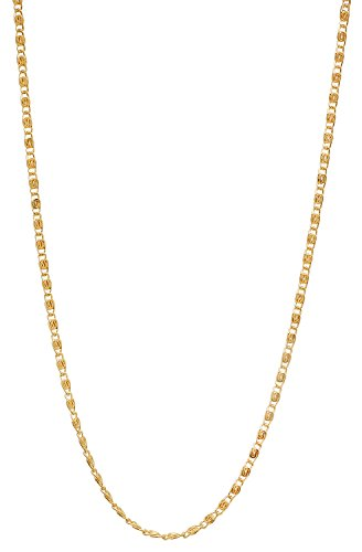 Venetian Link Chain (The Bling Factory 1.8mm 25 mills 24kt Gold Plated Venetian Link Chain Necklace, 24 inches)