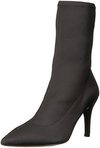 The Fix Women's Becca Pointed Toe Sock-Style Ankle Boot, Black Stretch Satin, 10 B US