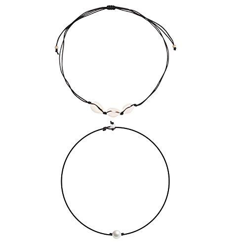 (Shell Choker Handmade Rope Pearl Hawaii Beach Necklace Jewelry for Women Girls (G))