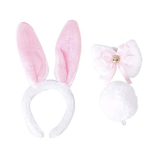 Headwrap - Fjs Kids Children White Rabbit Cosplay Christmas Halloween Costume Outfit Headband Tie Tail 3pcs - Bunny Corset Headband White Rabbit Headband Plush Party Rabbit Bunny Hare -