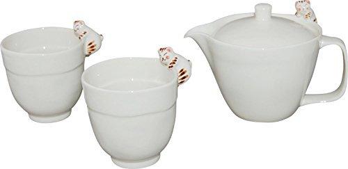 Hasami Yaki Cat with Teapot 2.6inch Set of 2 Japanese Teacups White Porcelain by Watou.asia